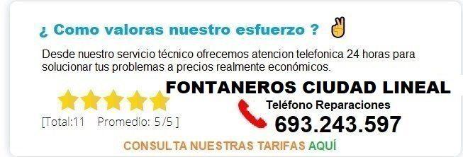 Fontanero Ciudad Lineal precio